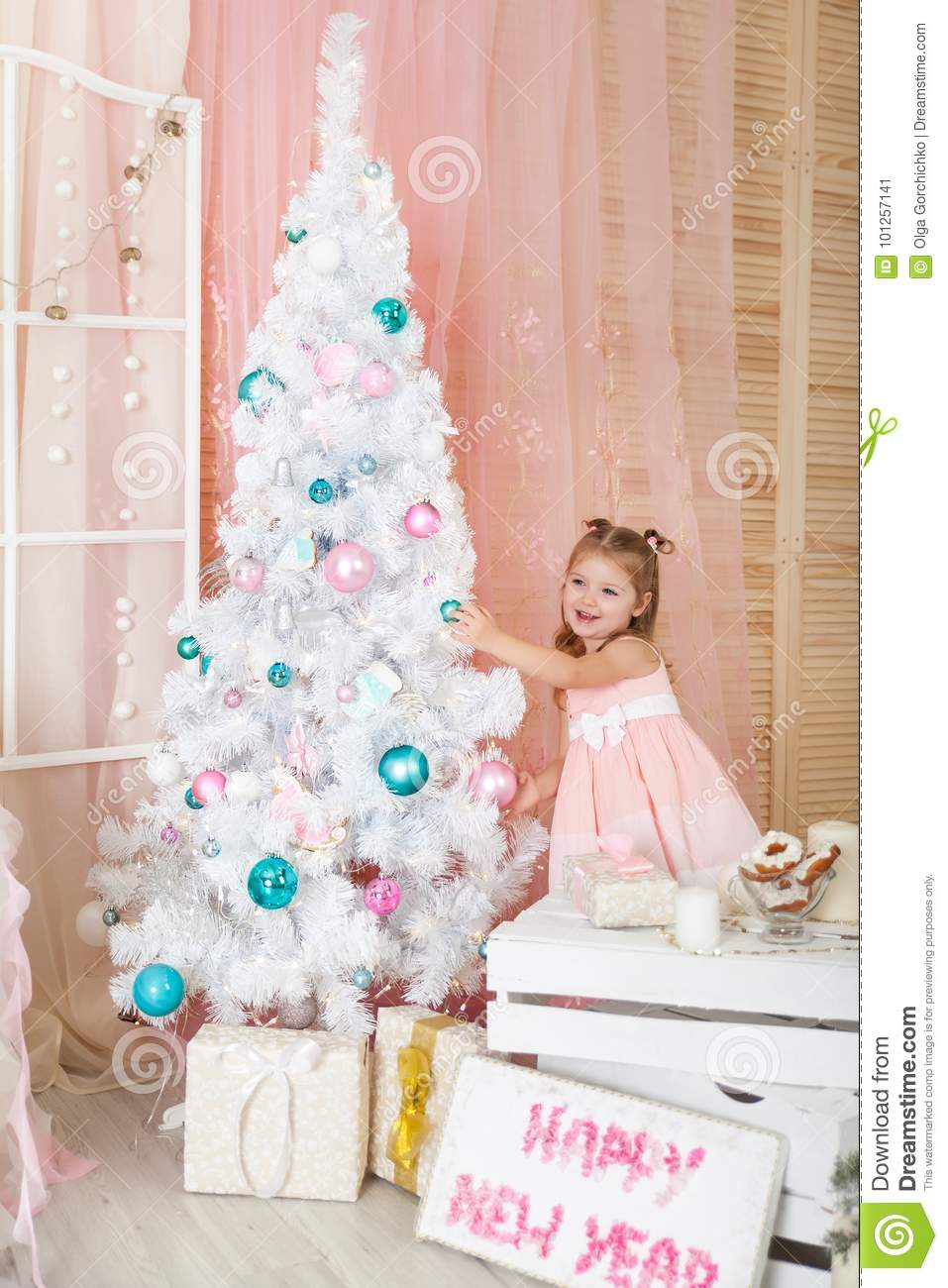 download cute girl in a christmas decorations stock image image of lights pink