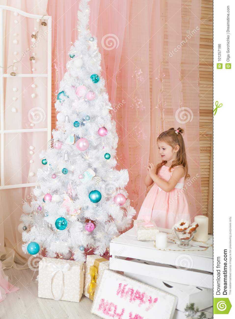 download cute girl in a christmas decorations stock photo image of smile blue