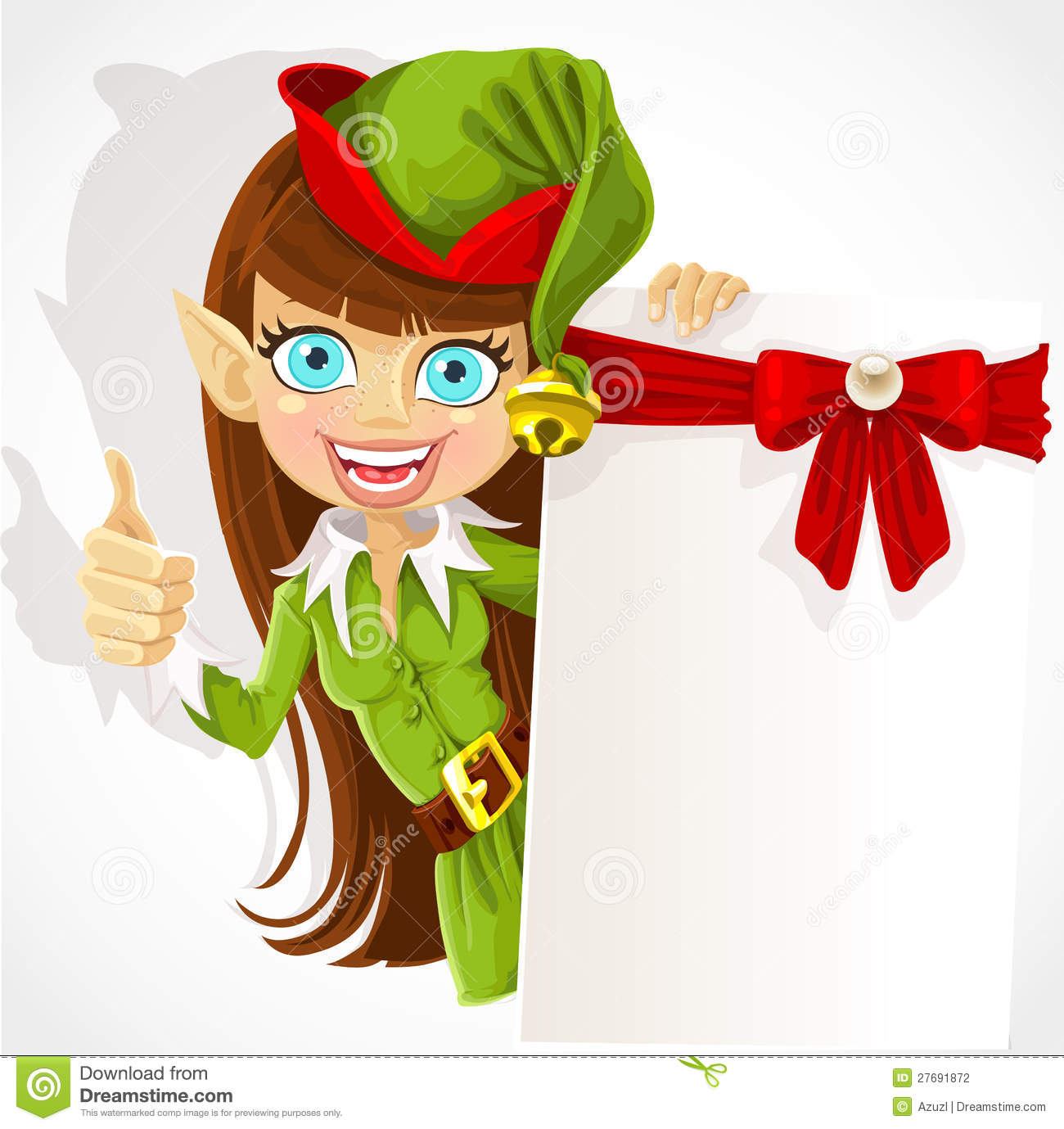 Cute Girl The Christmas Elf With A Banner Stock Photography - Image ...