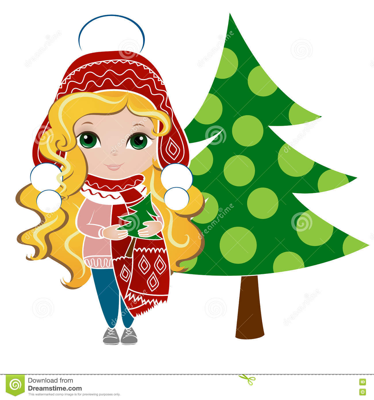 Cute Girl With Christmas Tree. New Year Background ...