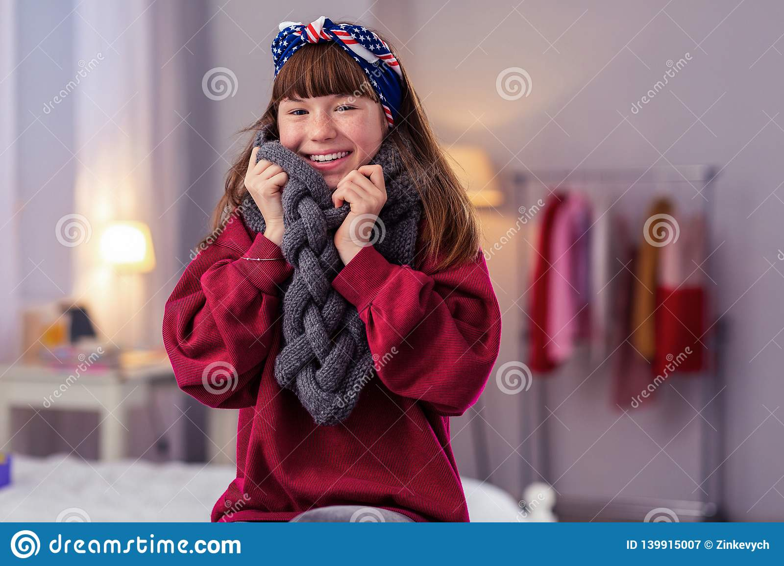 Cute Girl Covering Herself With Warm Scarf Stock Image Image Of