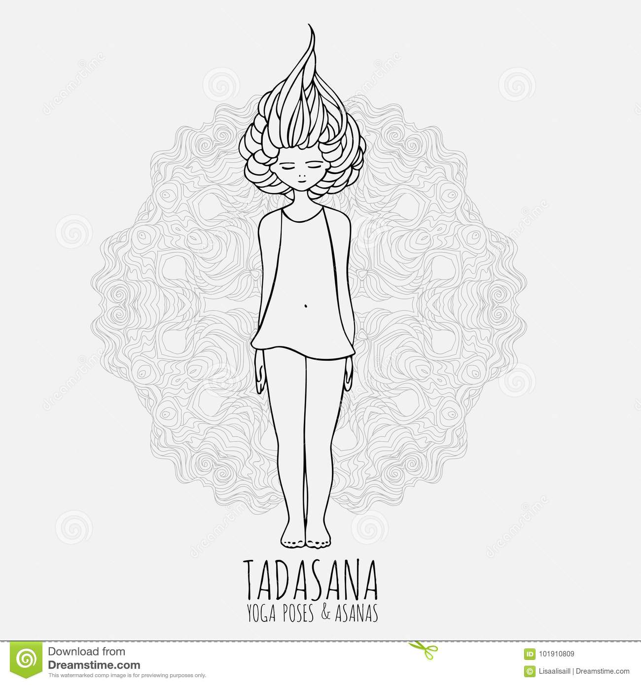 Cute Girl Doing Yoga Yoga Poses And Asanas In Hand Drawn Style