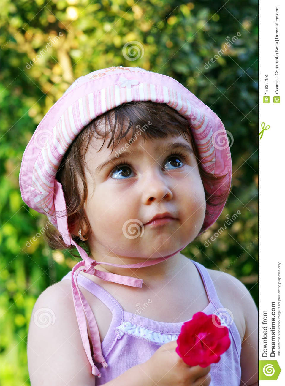 Cute Girl With Flower Stock Photo Image Of Educate Child
