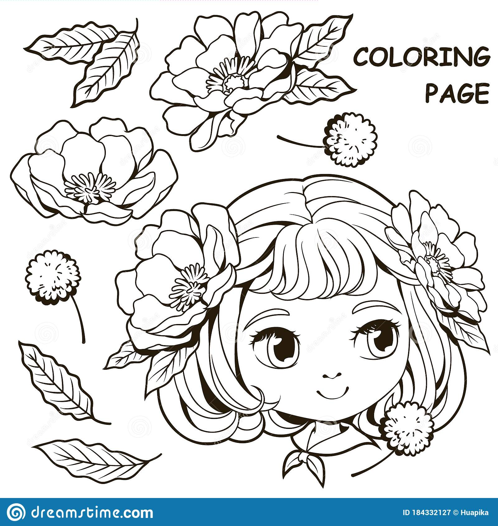Girl Coloring Pages Stock Illustrations – 10,10 Girl Coloring ...