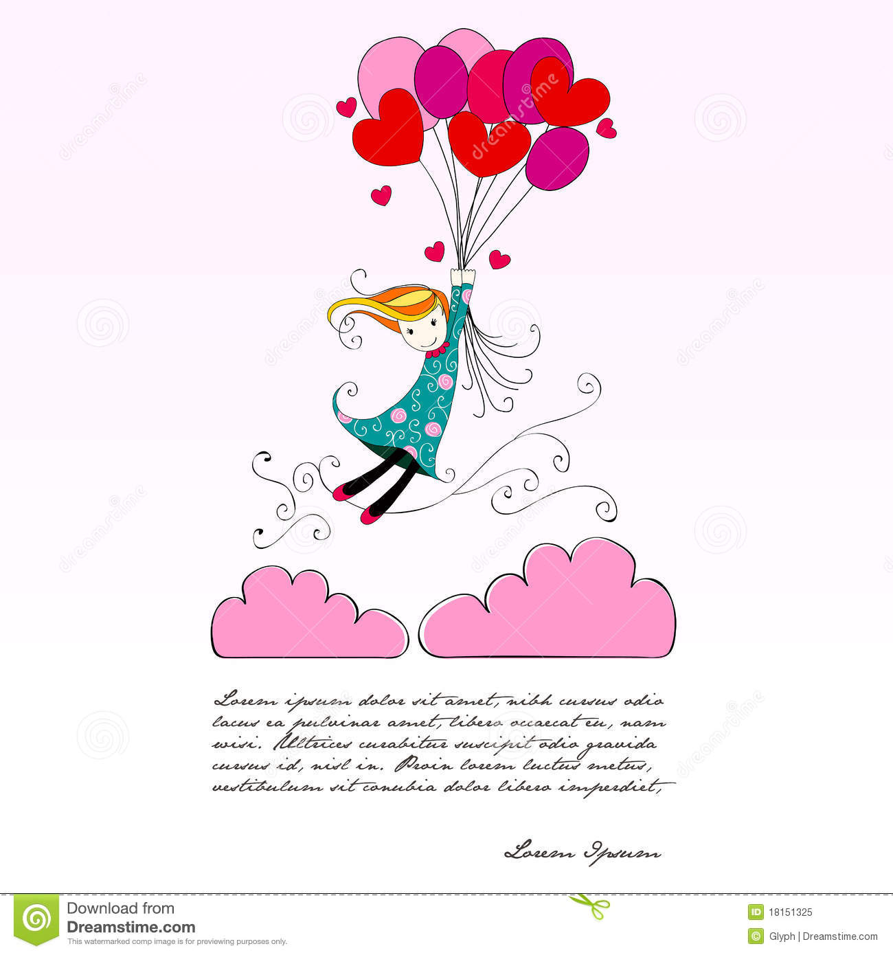 Cute Girl Flying Away On Heartshaped Balloons Cartoon