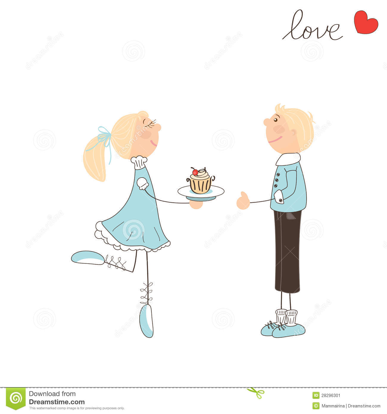 Cute Girl Give Cake To The Boy Stock Image Image 28296301