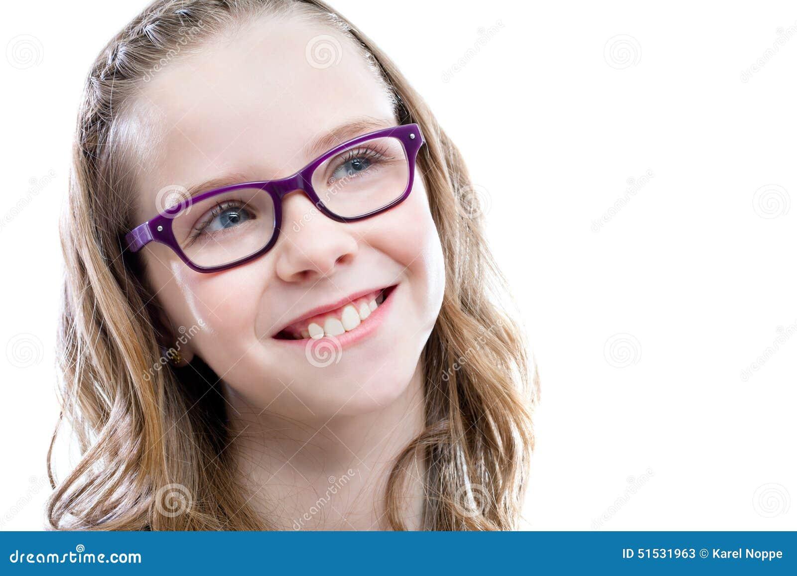 87f134b9cf5b Cute Girl With Glasses Looking At Upper Corner. Stock Image - Image ...