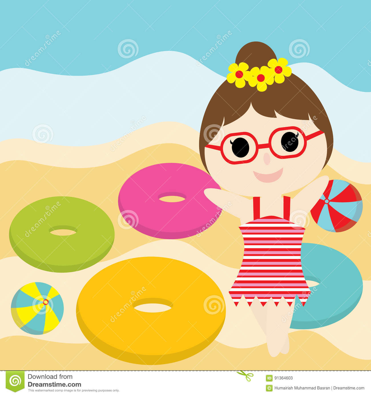 Cute Girl Is Happy On The Beach Cartoon Summer Postcard