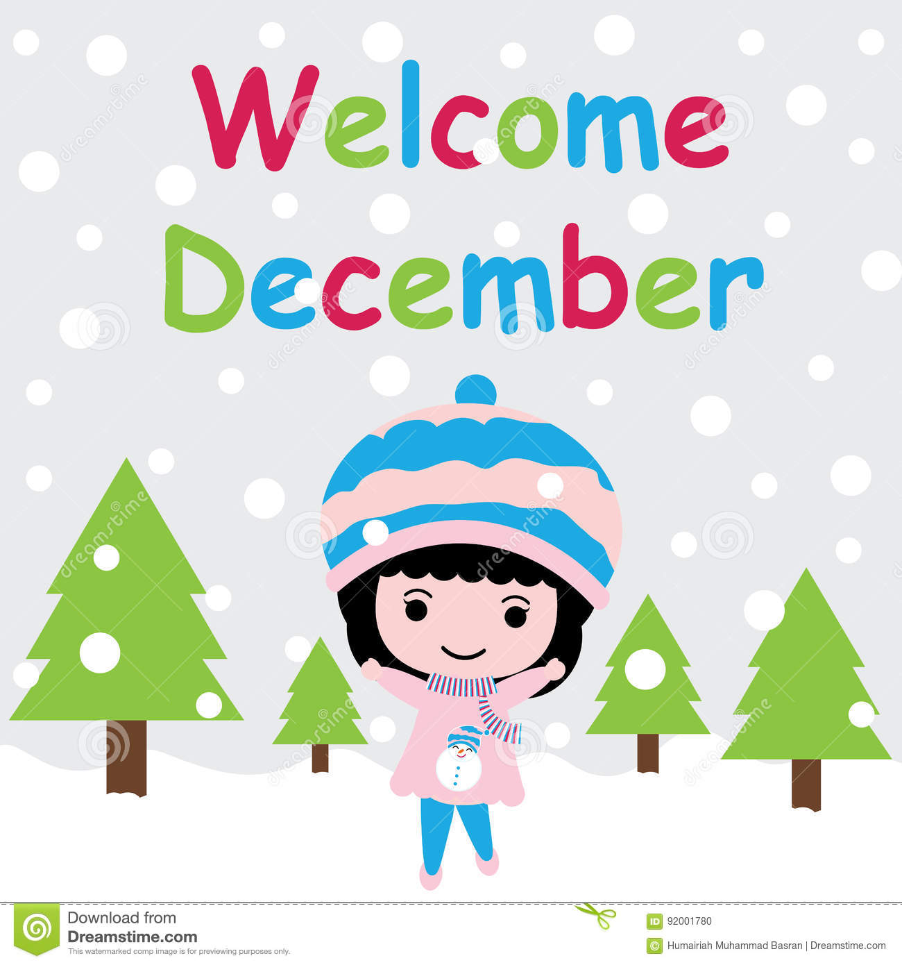 Cute Girl Is Happy On Snow Fall Background Cartoon Xmas Postcard Wallpaper And Greeting Card