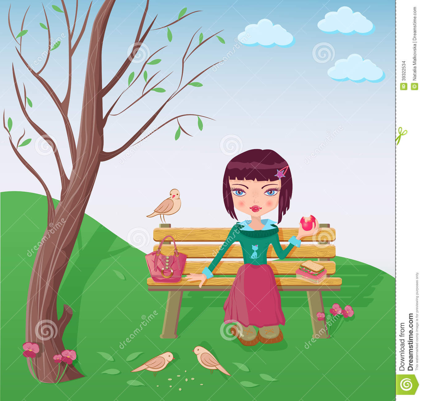 Cute Girl Having Lunch In The Park Stock Vector Image