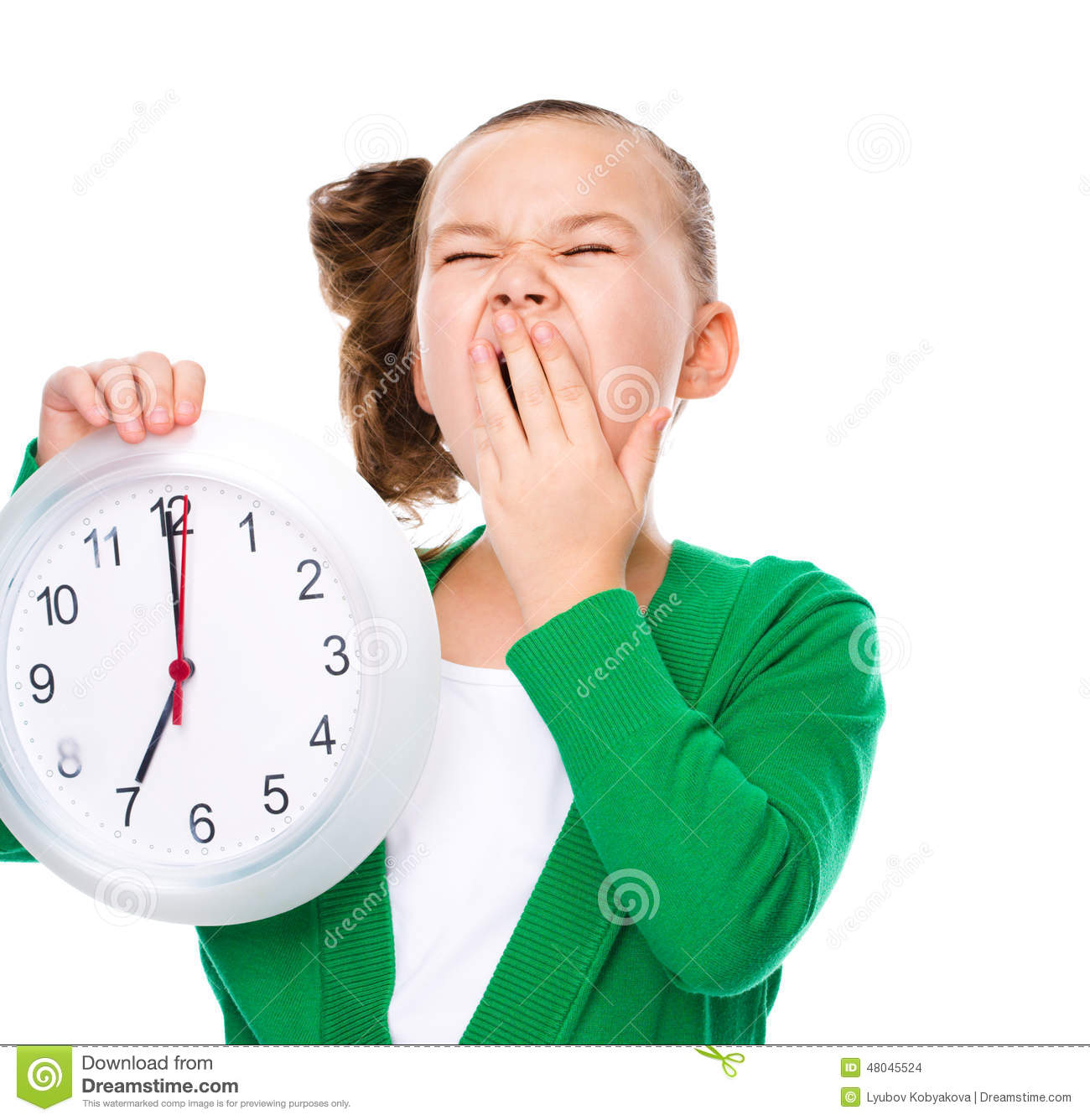 young beautiful business woman with the clock isolated on