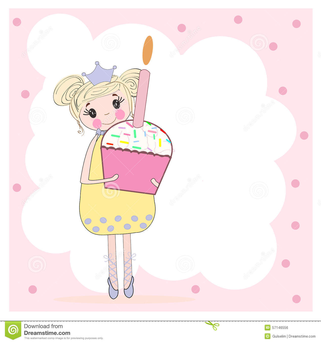 Cute girl holding birthday pie happy birthday card stock vector cute girl holding birthday pie happy birthday card stock vector illustration of colorful design 57146556 bookmarktalkfo Images
