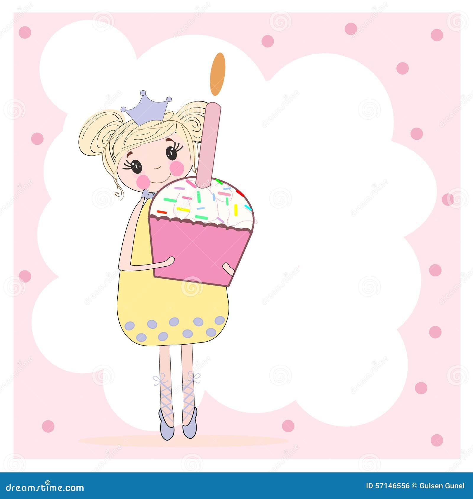 Cute Girl Holding Birthday Pie Happy Birthday Card Stock