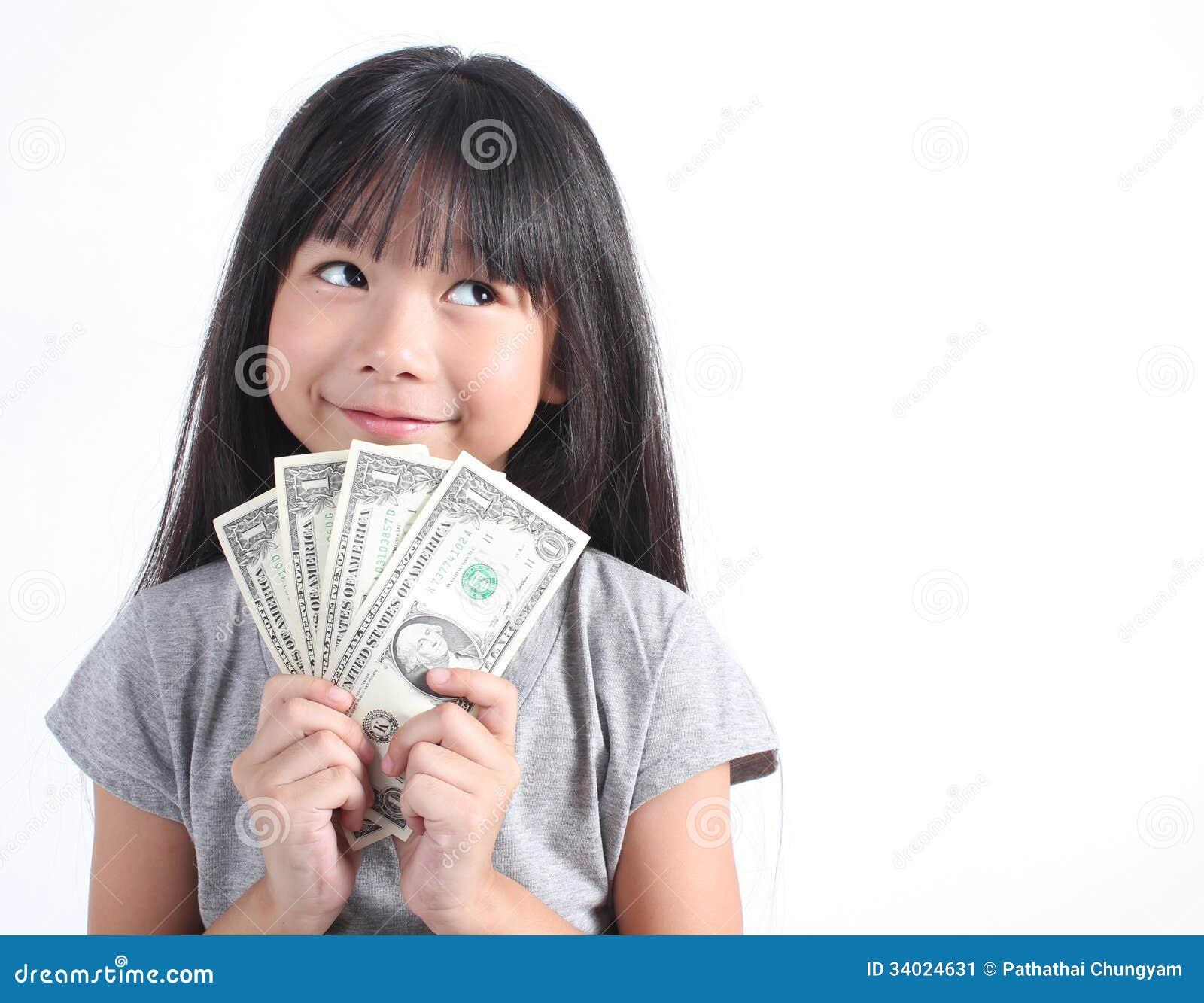 Cute girl holding money stock image. Image of japanese ...