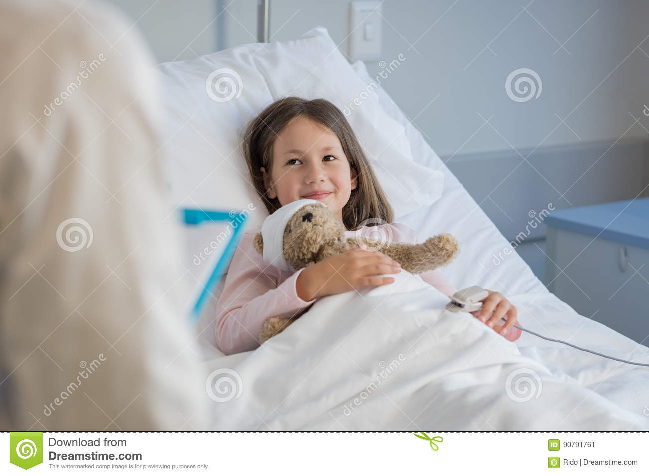Download Cute Girl At Hospital Stock Image. Image Of Visit, Sick   90791761