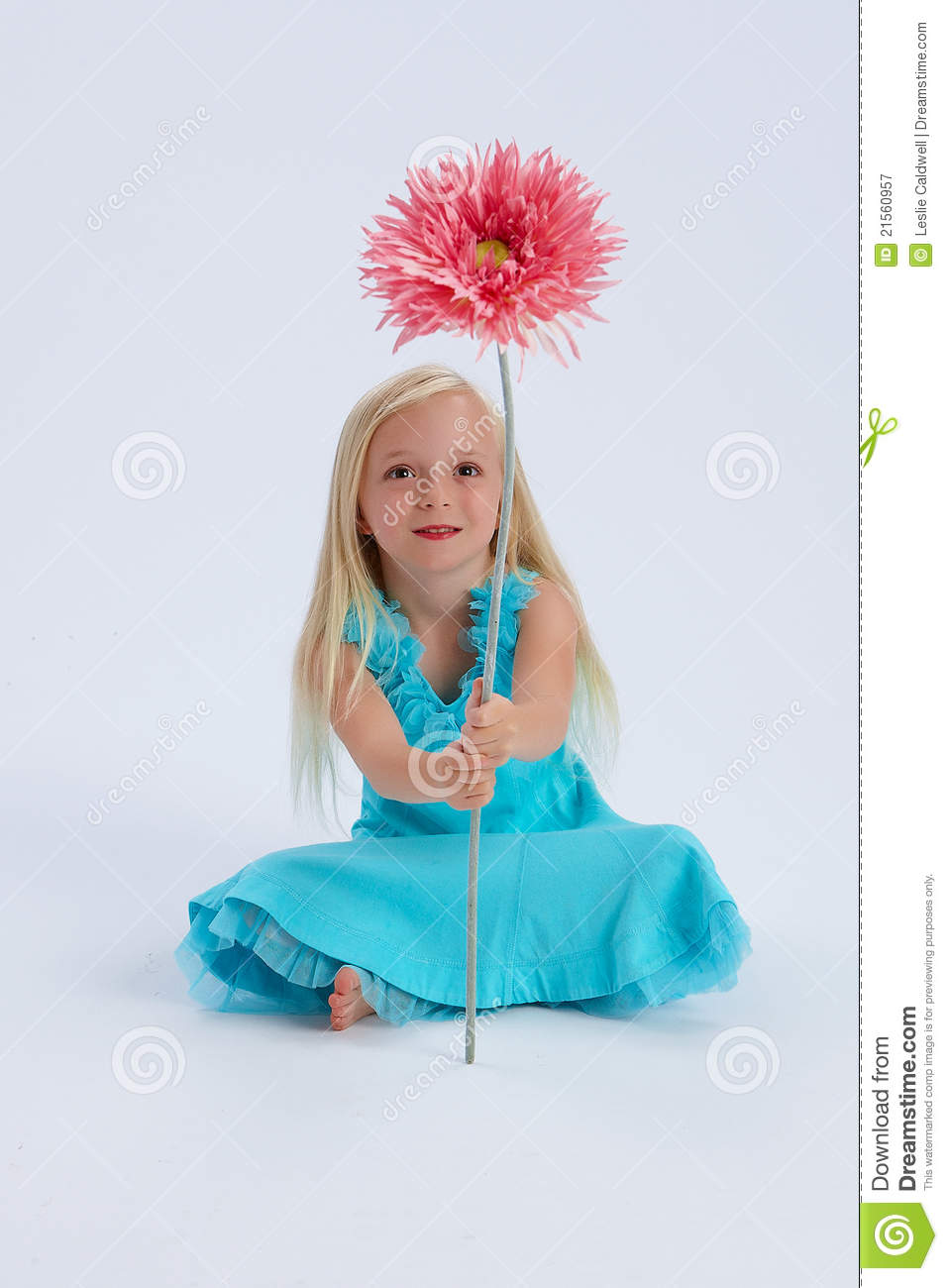 Cute girl with large flower