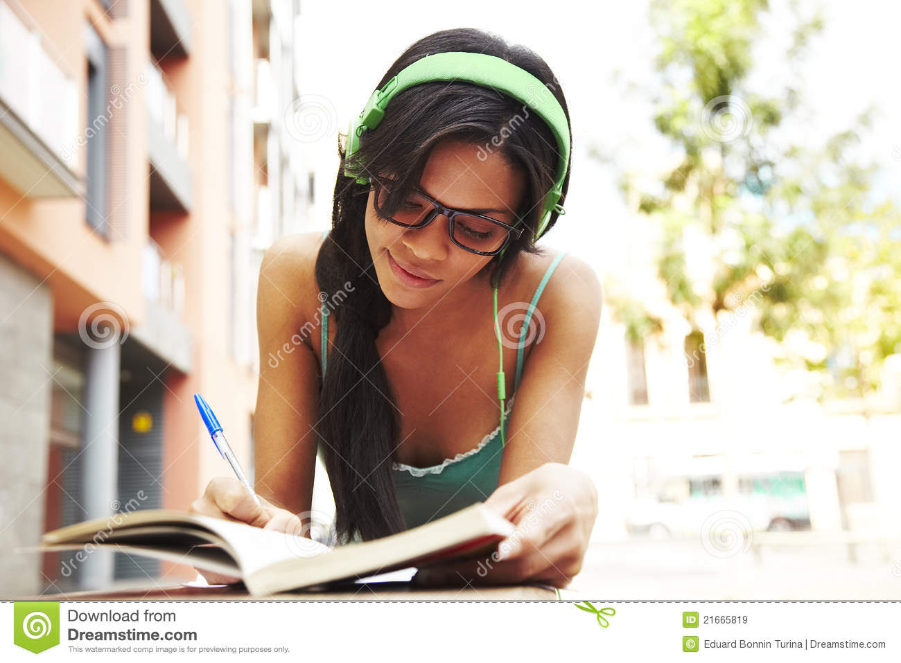 Cute Girl Listening Music And Studying Stock Image - Image ...