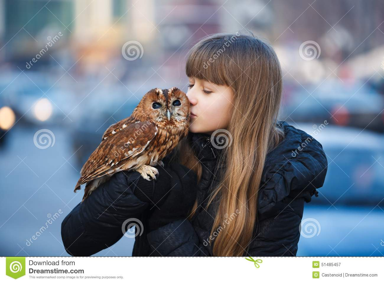 cute girl with little owl stock image image of child owl vector art free download Black Owl Vector Art