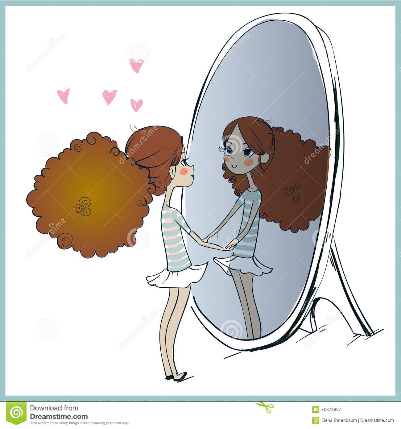Cute Girl Looking At Her Reflection In Mirror. Stock