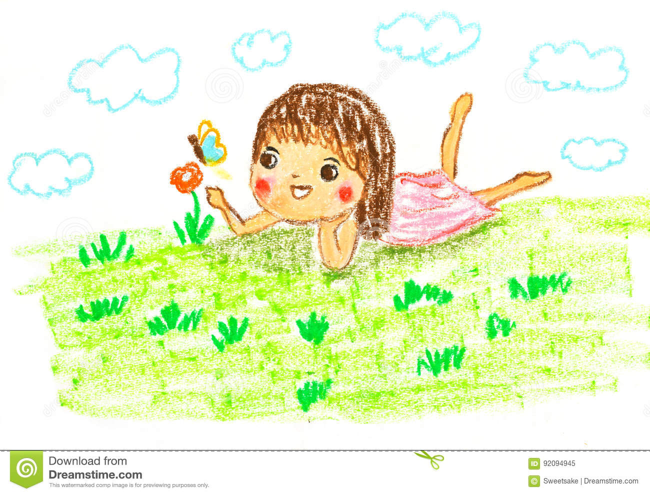 Cute girl lying on green grass , oil pastel drawing illustration