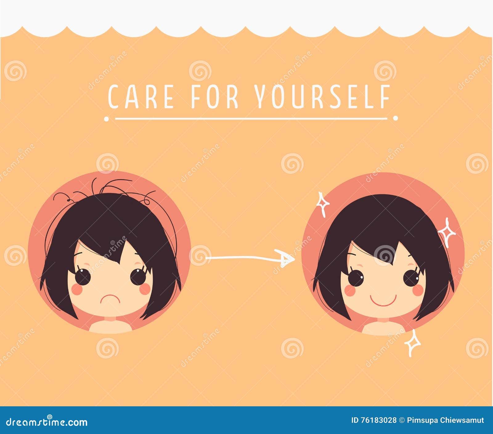 Cute Girl Messy Hair Silky Hair Care For Yourself Stock Vector