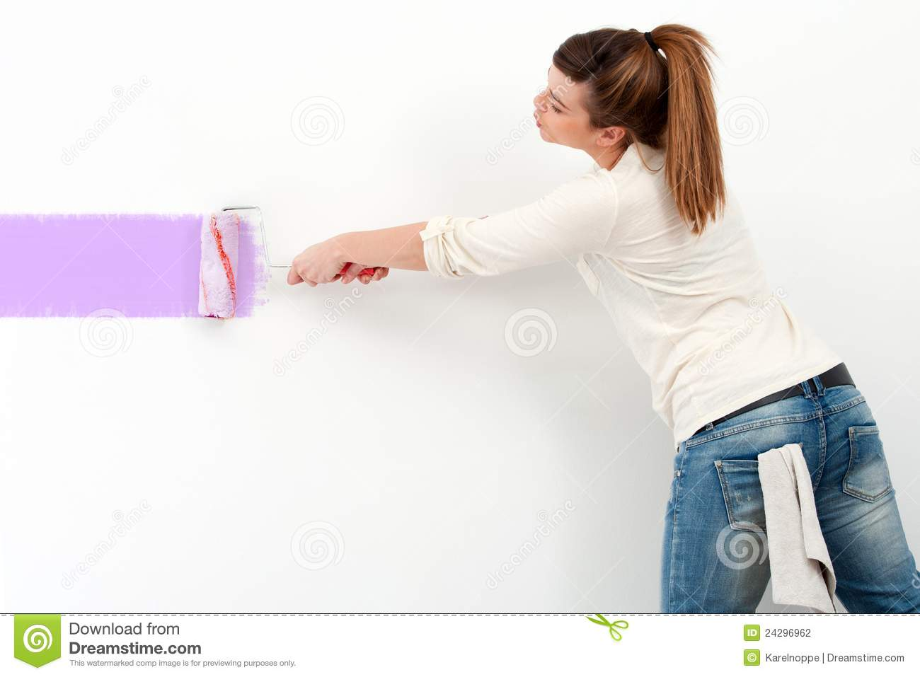 Cute girl painting the wall stock photo image 24296962 - Girl color wall paint images ...