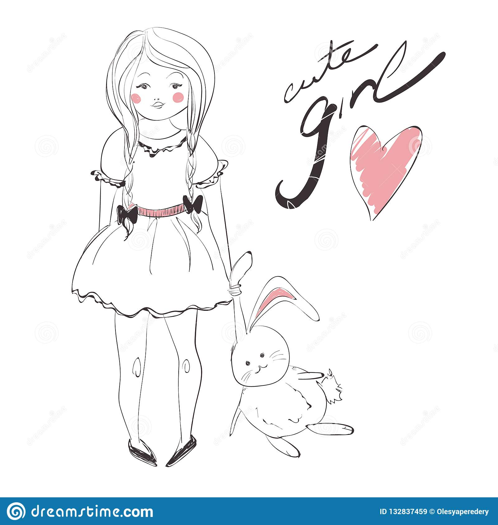 Cute girl with pigtails wearing a dress and rabbit vector illustration