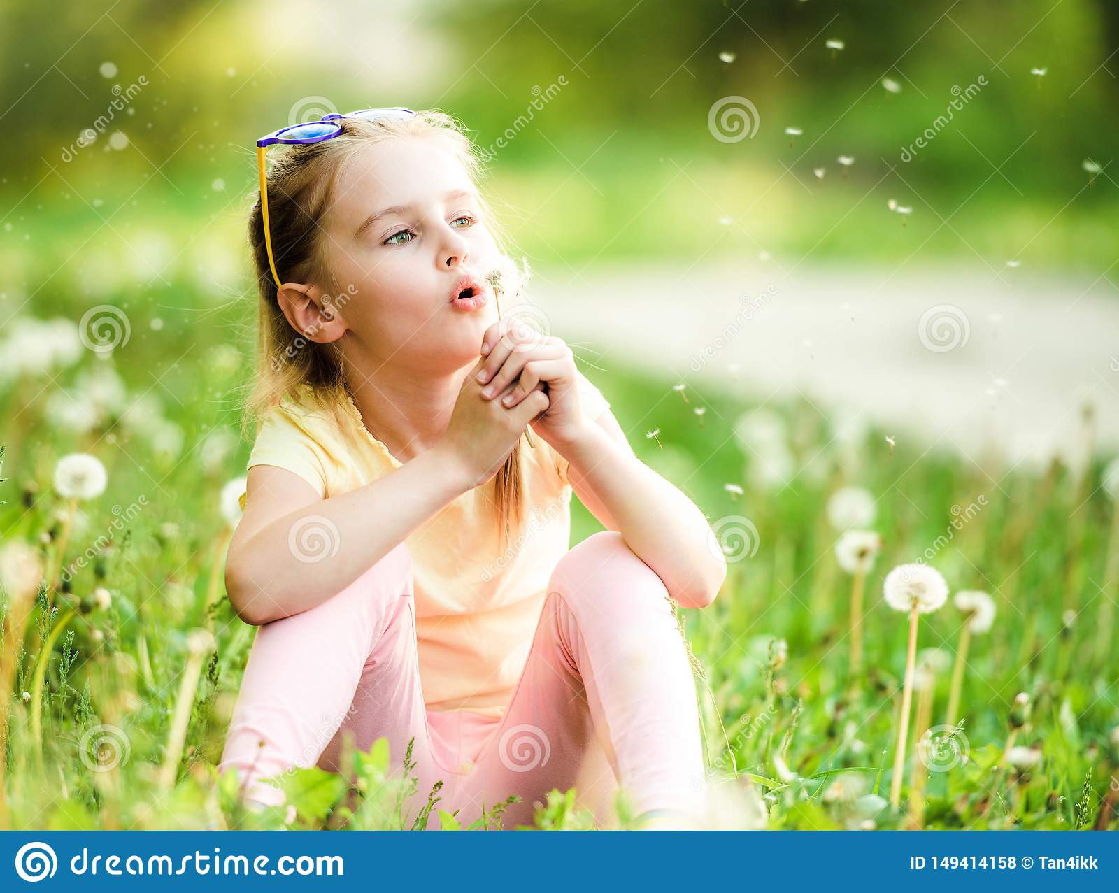 Cute Girl Playing With Dandelions Stock Photo Image Of Meadow