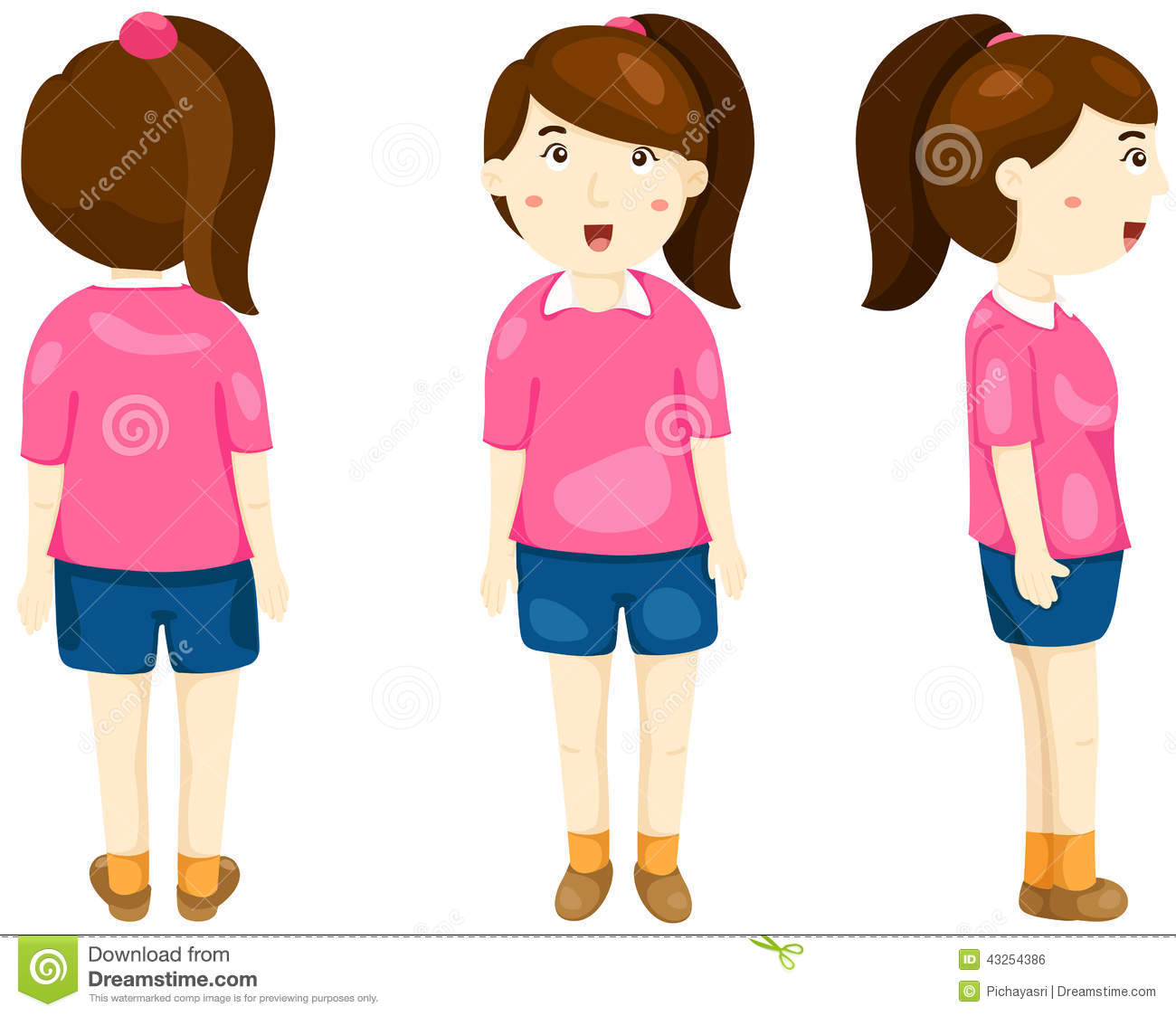 cute girl posing back front and side view stock vector