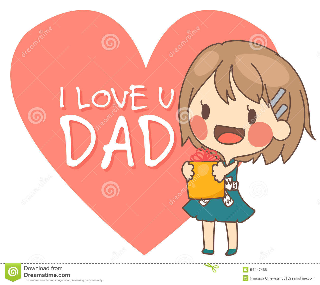 cute girl present i love you dad card vector illustration stock