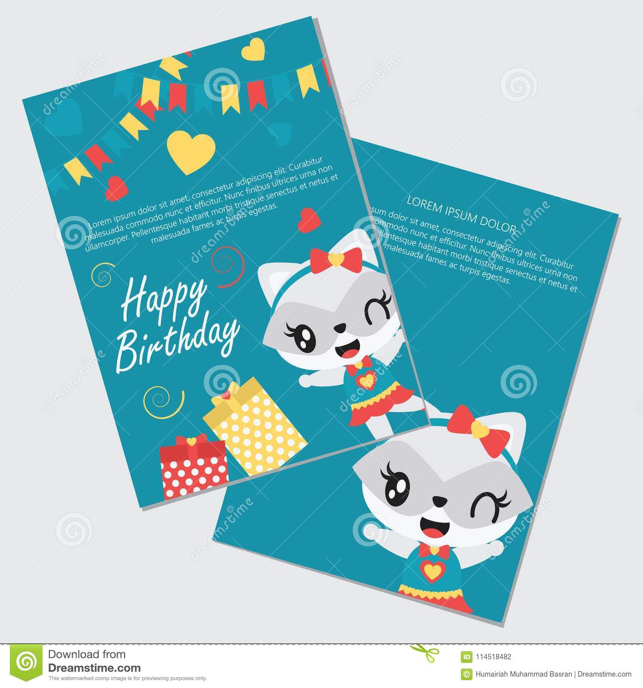 Cute Girl Raccoon And Gift Boxes Vector Cartoon Illustration Stock