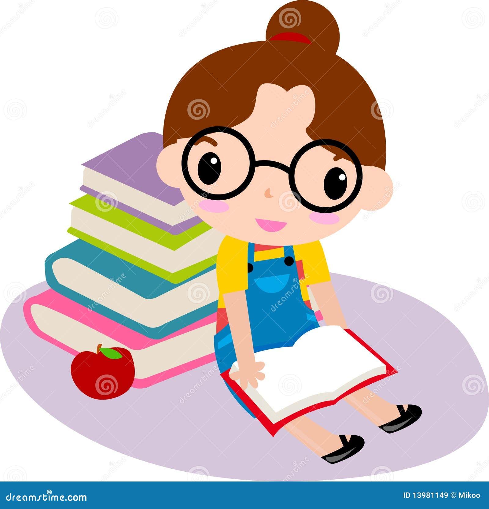 Cute girl reading book stock vector. Illustration of ...