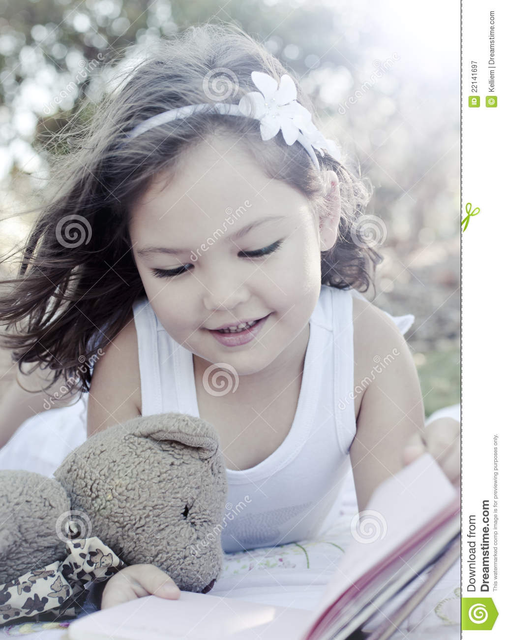 cute girl reading book stock image. image of book, adorable - 22141697