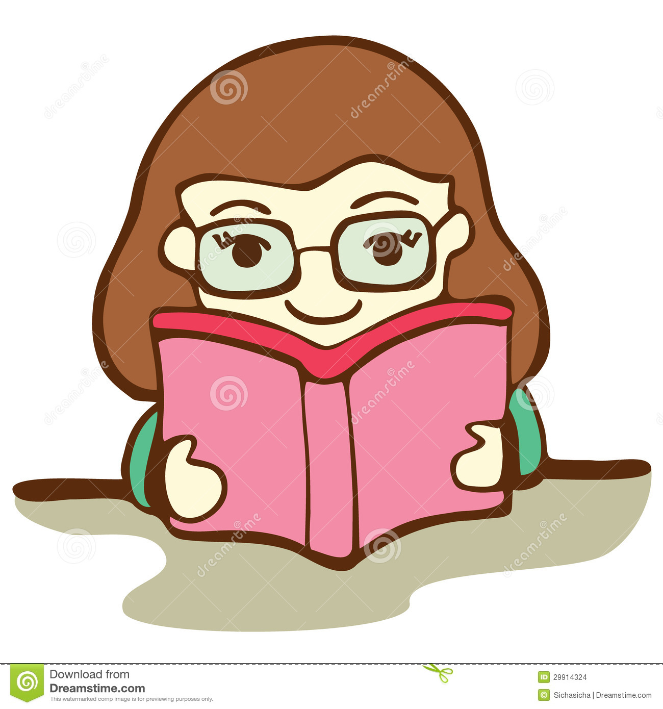 Cute Girl Reading Book Stock Images Image 29914324