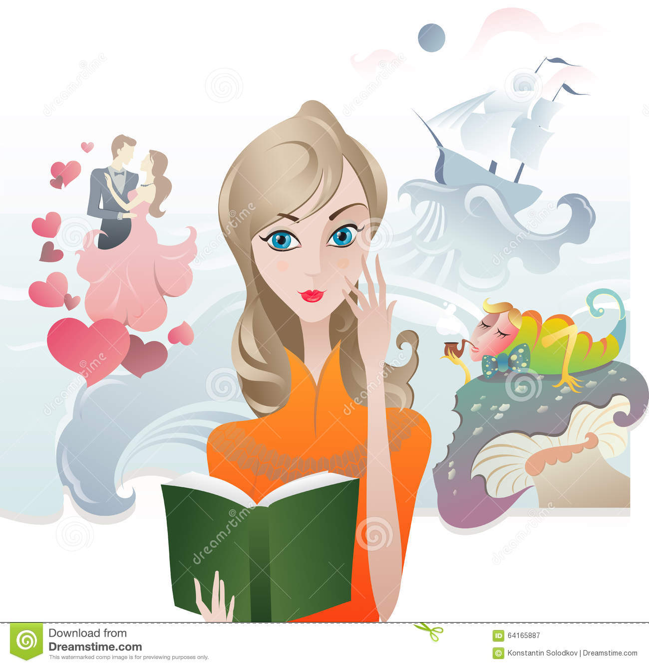 Cute Girl Reading A Book Stock Vector - Image: 64165887