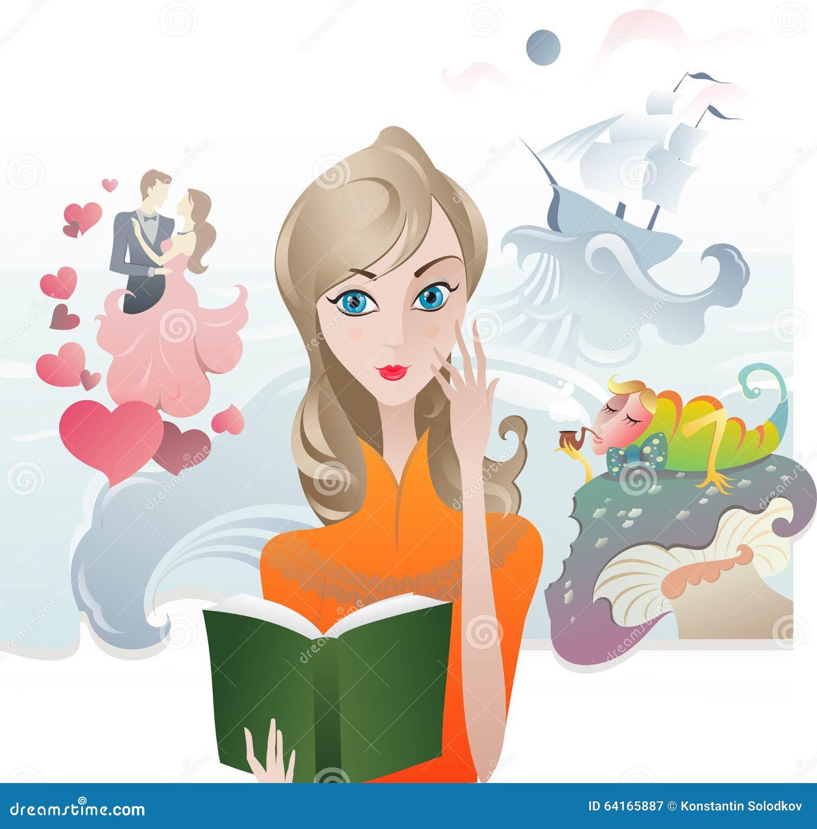 Cute Girl Reading A Book Stock Vector - Image: 64165887