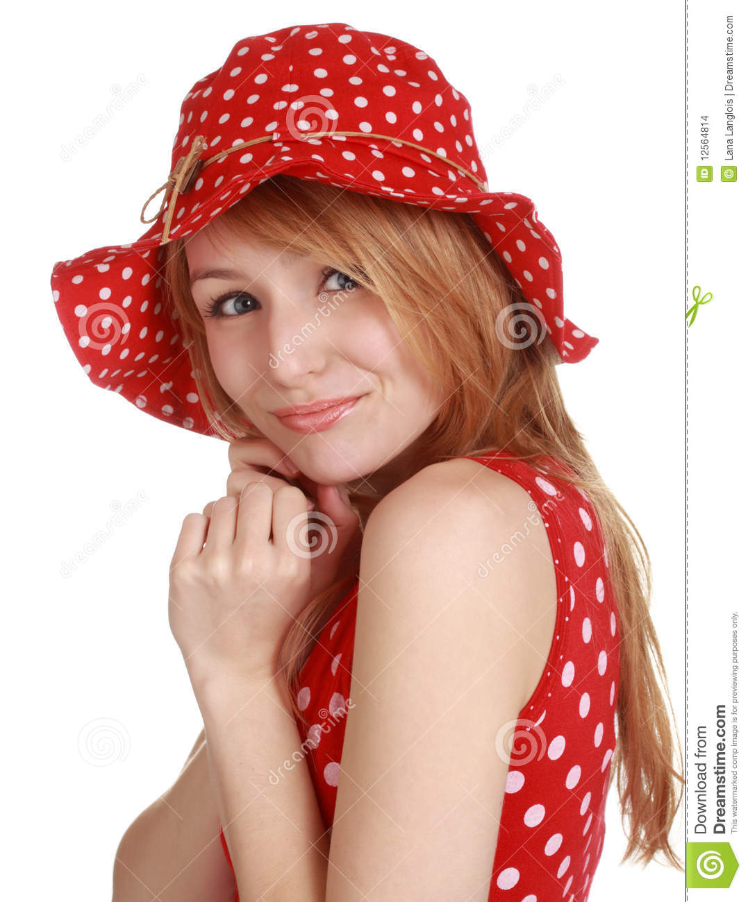 Cute Woman With Hat: Cute Girl With Red Dress And Hat Stock Images
