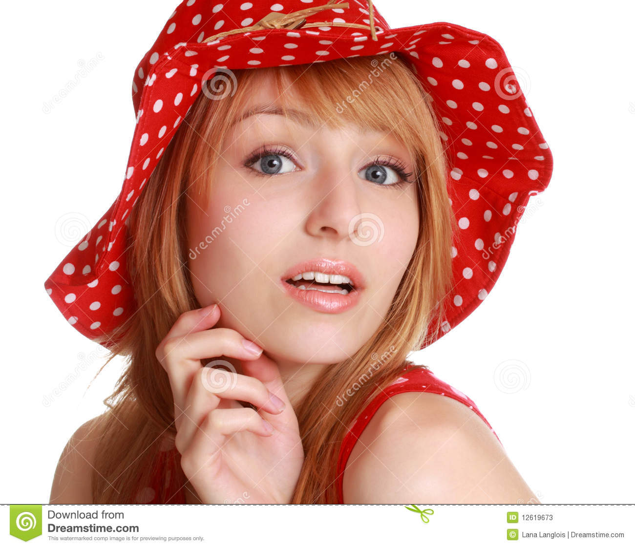 Cute Woman With Hat: Cute Girl With Red Dress And Hat Stock Photos