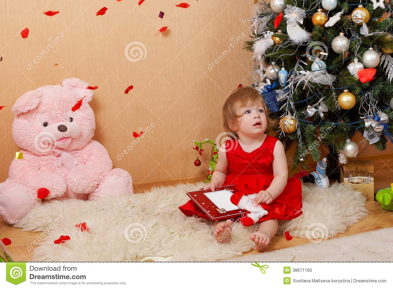 c6510eae0d1c Cute girl in red dress stock photo. Image of dress