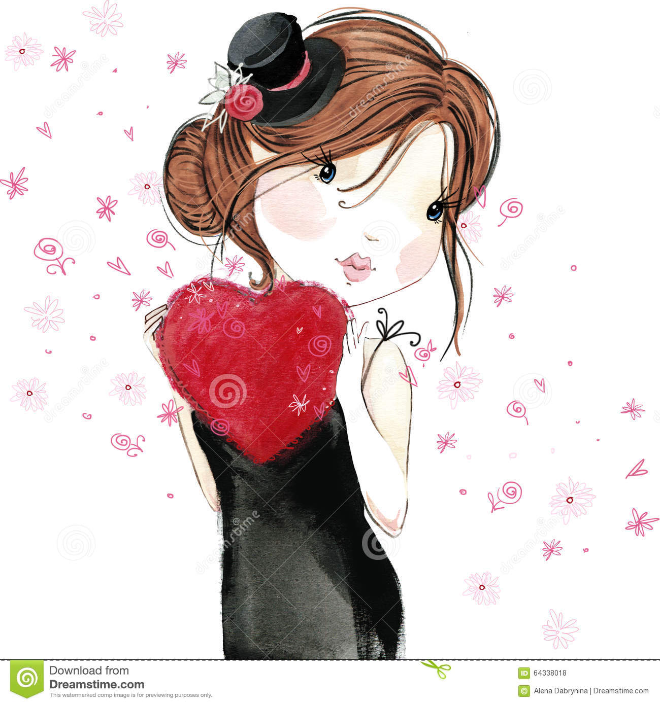 Cute Girl With Red Heart Valentine Day Stock Illustration