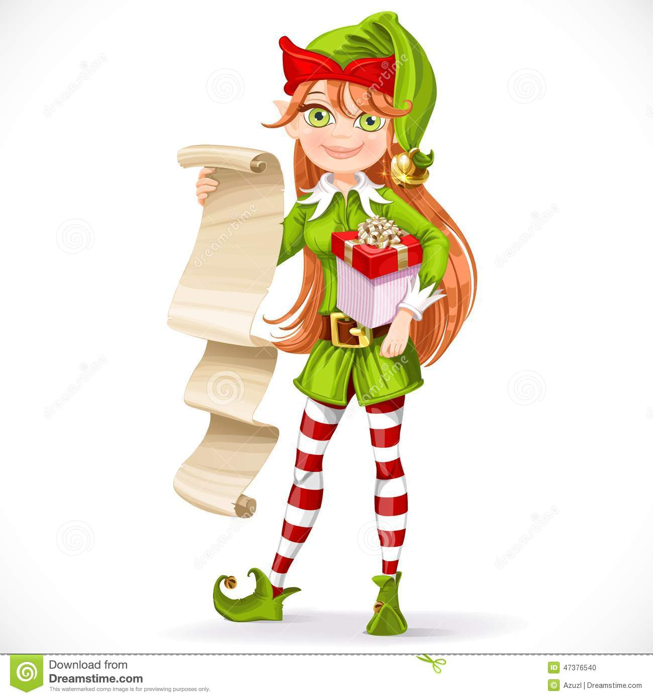 Cute Girl Santa Elf With List On Parchment Stock Vector