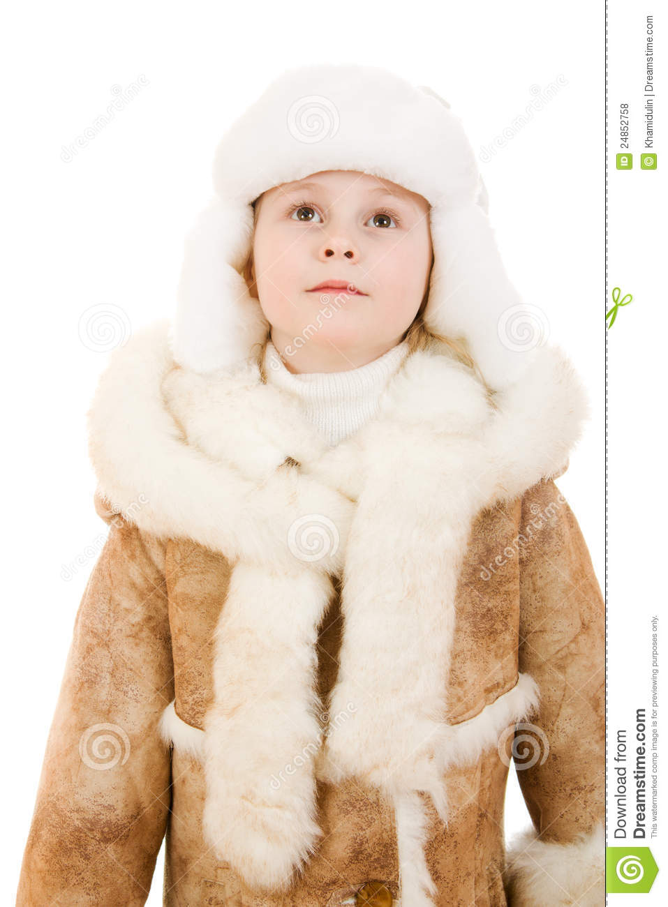 Cute Girl In A Sheepskin Coat And Hat Looking Up Royalty Free ...
