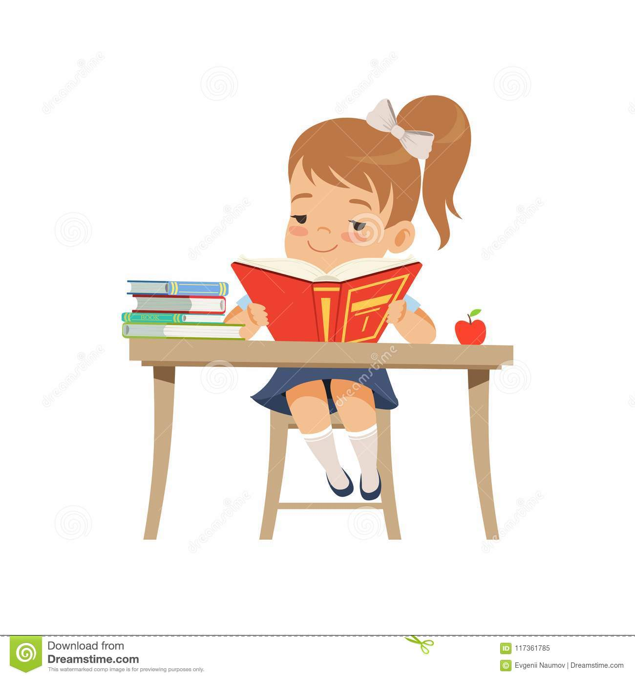 cute girl sitting at the desk and reading a book, elementary school