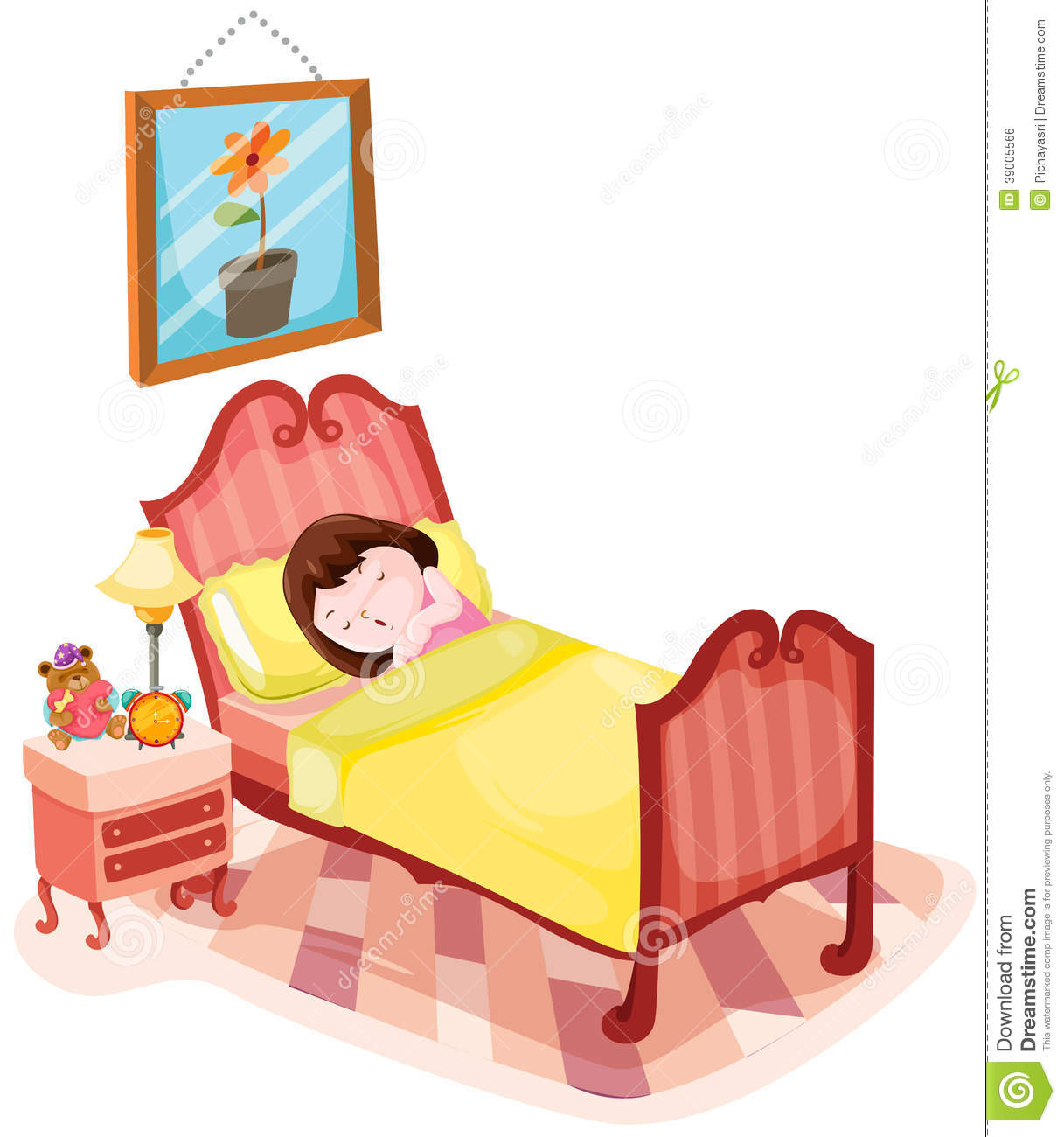 Cute girl sleeping in bed stock vector. Illustration of ...