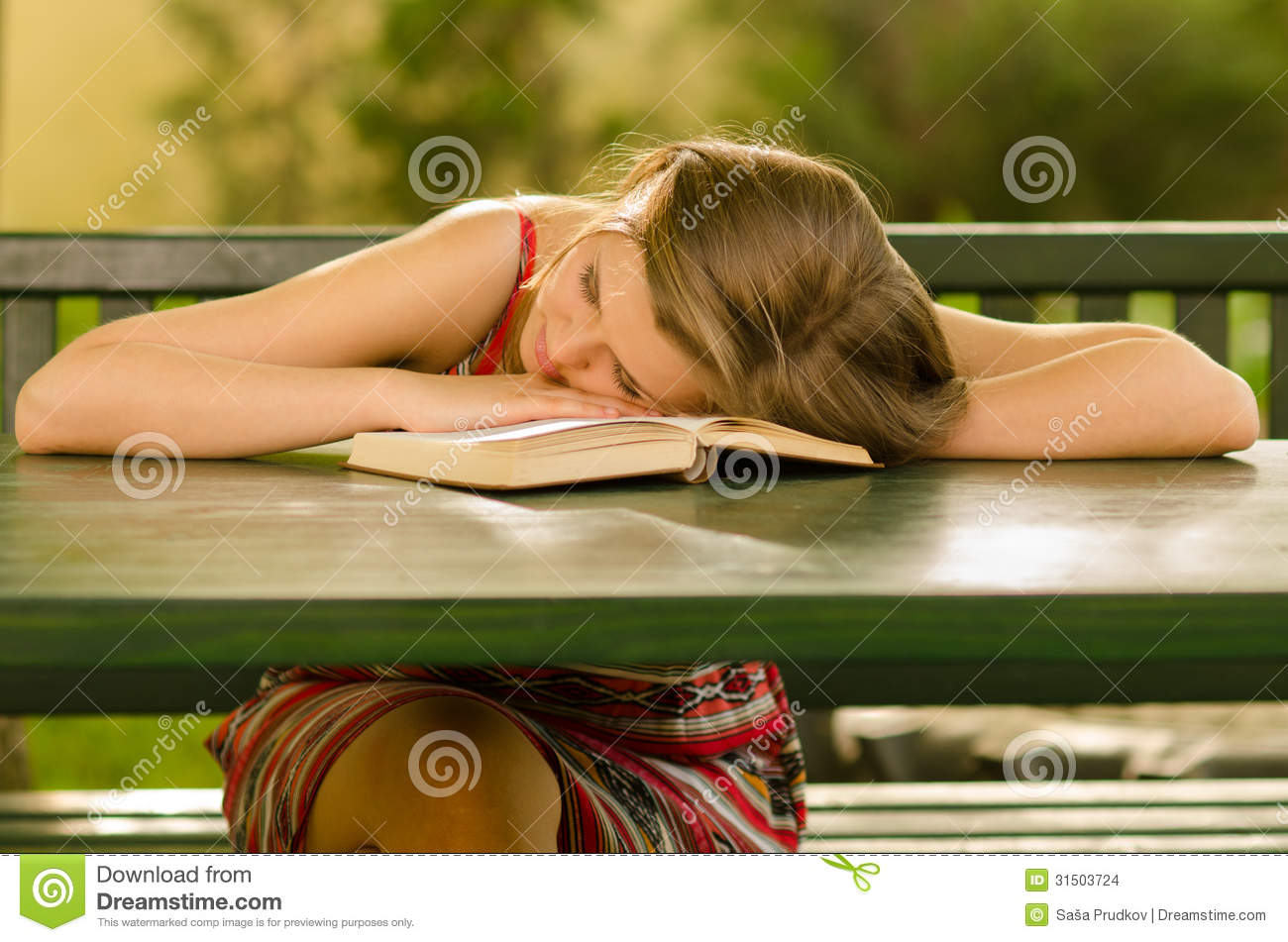 Cute Girl Sleeping On The Table Stock Images - Image 31503724-3970