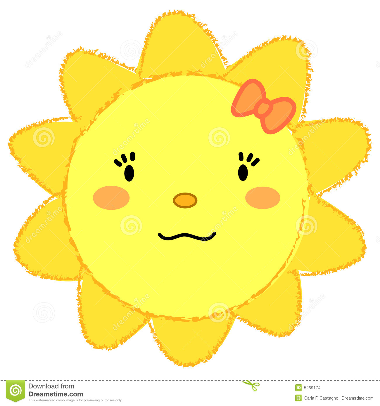 Cute happy sun with a girly face. Vector illustration.