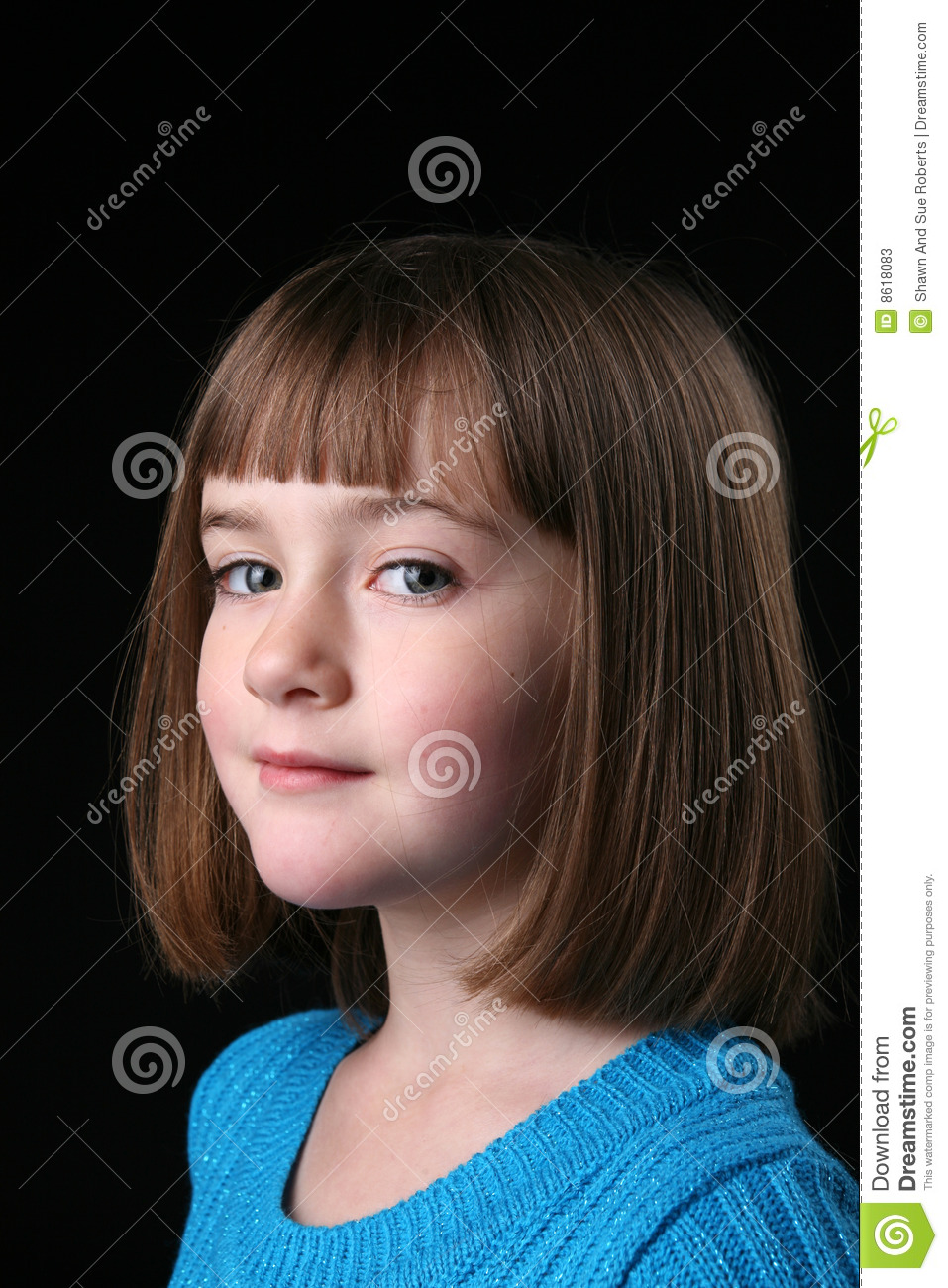 Cute Girl With Straight Hair And A Sideways Glance Stock