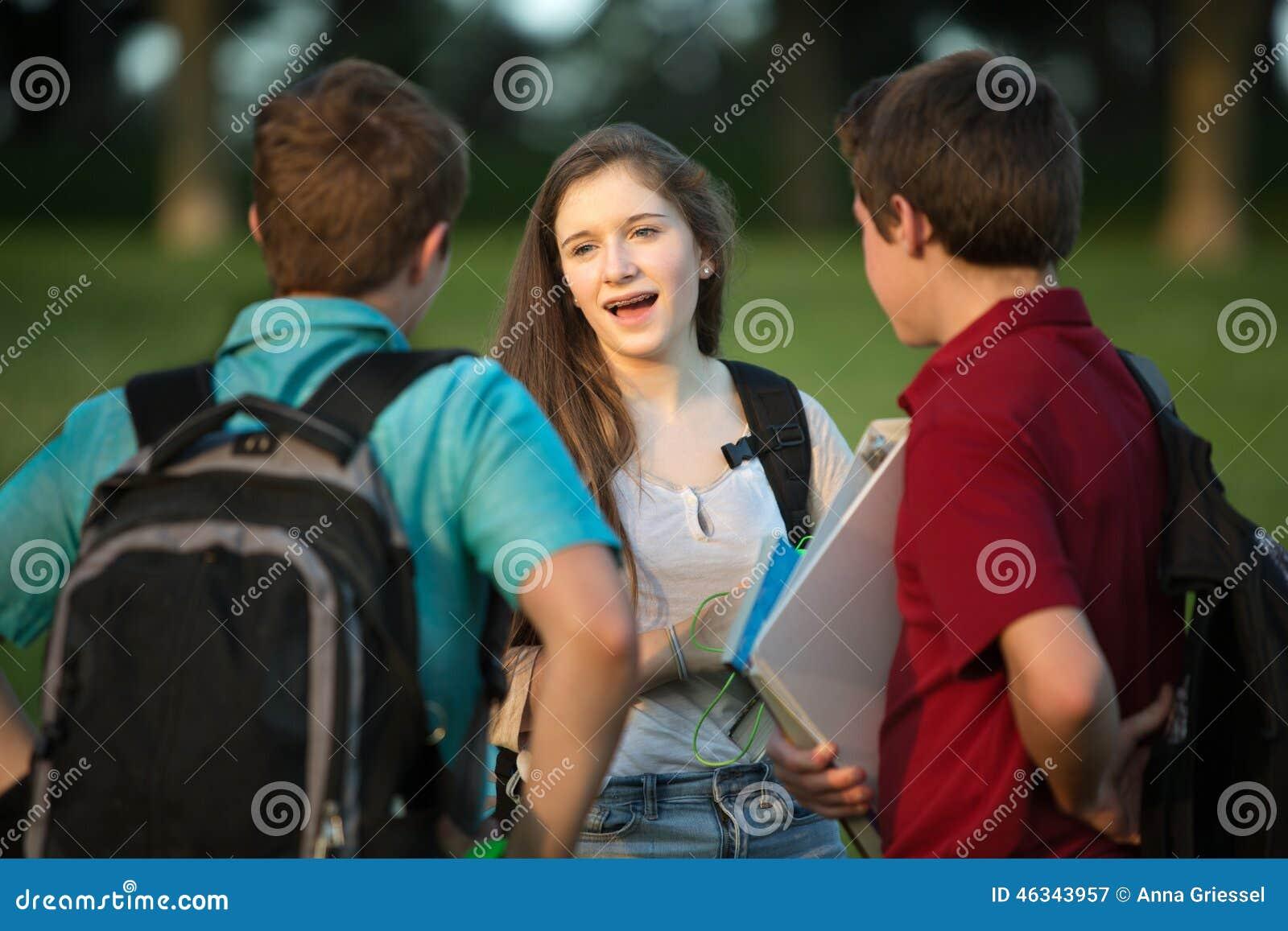 Cute Teen Trio Outdoor Fun
