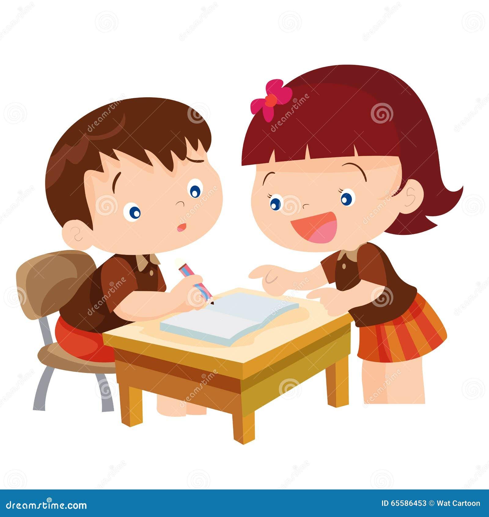 Cute Girl Teaching Boy Stock Vector - Image: 65586453
