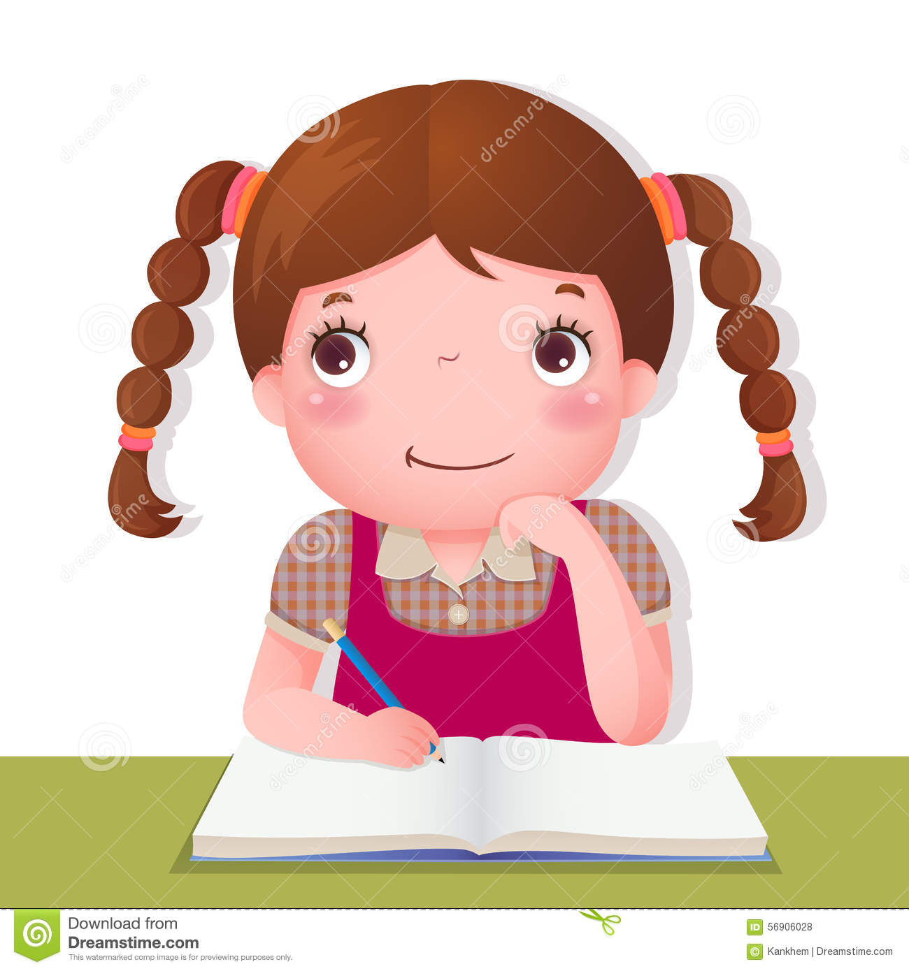 Cute girl thinking while working on her school project